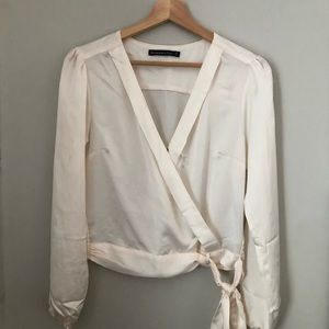 Abercrombie Silky Faux Wrap Top